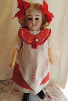 Simon & Halbig Antique German Bisque Doll 18 1/2 IN Love the dress