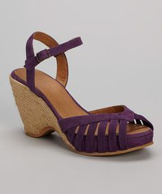 Purple Kamielle Leather Wedge Sandal by Eric Michael by Laurevan #zulily #zulilyfinds
