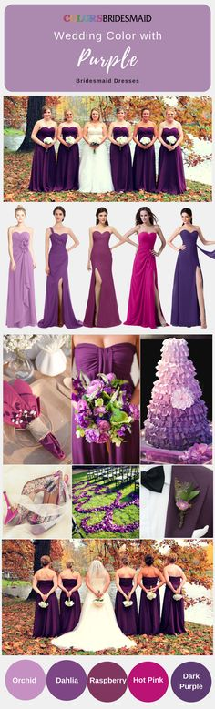 These chiffon long bridesmaid dresses in purple color look so elegant and can be worn in summer and fall weddings. All styles and sizes are available.