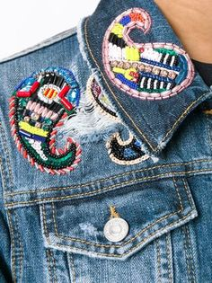 MSGM beaded paisley patch denim jacket