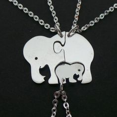 Lucky Cute Family Elephant Necklaces  Set of 3 Pieces by yhtanaff