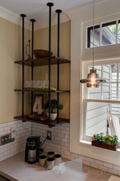Pipe wood shelves hung upside down -Kitchen Cabinet alternatives-East Grand Rapids Kitchen Remodel industrial kitchen. Love the pipe shelves. Brought to you by LG Studio Vintage Industrial Furniture, Industrial House, Kitchen Industrial, Vintage Wood, Industrial Pipe Shelves, Plumbing Pipe Shelves, Industrial Design, Industrial Style, Galvanized Pipe Shelves