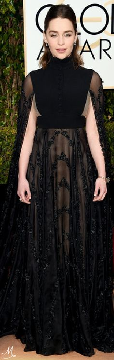 2016 Golden Globes Red Carpet Arrivals   Emilia Clarke in Valentino