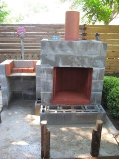 Decorate Cinder Block | Concrete Foundation And Set Posts For Benches.  Layed Cinder Block . Outdoor Fireplace ...