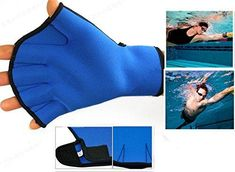 Harryshell(TM Water Resistance Fins Hand Glove Training Fingerless Webbed Flippers Paddle Swim Gloves Neoprence Soft and pliable neoprene webbed swim gloves Easy to put with adjust Velcro wrist The webbed design for water resistance training helps increase distance per stroke. Designed to increase resistance and build strength. Fantastic in water aerobics classes and resistance programs, help tone and strengthen muscles. Swimming Gear, Swimming Equipment, Scuba Diving Equipment, Best Swimming, Aerobics Classes, Swim Training, Water Aerobics, Hand Gloves, Swim Caps
