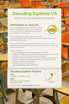 Decoding Dyslexia VA - Join us for an informational event! by Leslie Ehemann Gillingham, Guest Speakers, Decoding, Dyslexia, Middle School, Parenting, Teacher, Student, Education