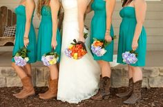 Teal bridesmaid dresses with boots... @kristencormier @rwhitney201