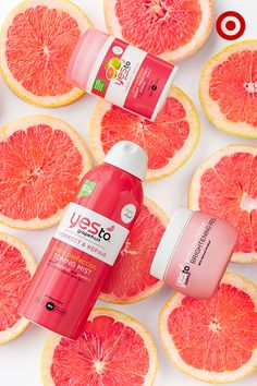 """Say """"yes"""" to the newest collection in skin care, Yes To Grapefruit. This line boasts a toning mist, brightening peel and night treatment for perfect pores. It's all 95% natural, is packed with vitamin C, brightens skin, and is served up with a refreshing grapefruit fragrance."""