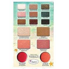 Welcome aboard with this travel-friendly face palette from theBalm Cosmetics! This multi-tasking travel companion features nine exclusive triple-milled eyeshadows which can be used wet or dry, two blushes, a bronzer, a highlighter, and two versatile Luxury Beauty, Beauty Bar, Beauty Shop, Face Palette, Makeup Palette, Blushes, Skin Tags Home Remedies, How To Get Rid Of Acne, Best Face Products