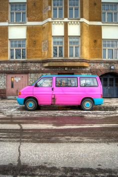 (Almost) Hippie Van in downtown Helsinki, Finland.