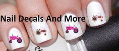 #COUPON CODE PINIT AND SAVE 10% OFF 50 pc of pink tractors waterslide nail decals by NailDecalsAndMore, $3.00