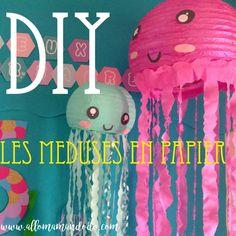 DIY: La Méduse en Papier - Allo Maman Dodo Deco Pirate, Mermaid Cupcakes, Classroom Decor, Paper Cutting, Diy For Kids, Activities For Kids, Party, Birthday, Crafts