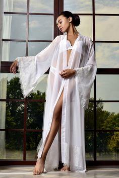 White Lace Kimono, Chiffon Kimono, White Chiffon, White Bridal Robe, Bridal Lace, Bridal Gowns, Bride Dressing Gown, Kimono Dressing Gown, Wedding Night Lingerie
