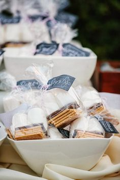 Autumn Outdoor Dessert Idea | Individual packaged S mores for guests, plan burning a fire during your party and the extra heat from the firepit will be a warm welcome from guests.