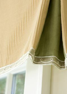 Liz Williams Interiors - Beautiful contrast pleats with sheer trim.  What a lovely idea.