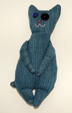 Recycled Denim Cat--@Amanda Snelson Mather, how cute is this?