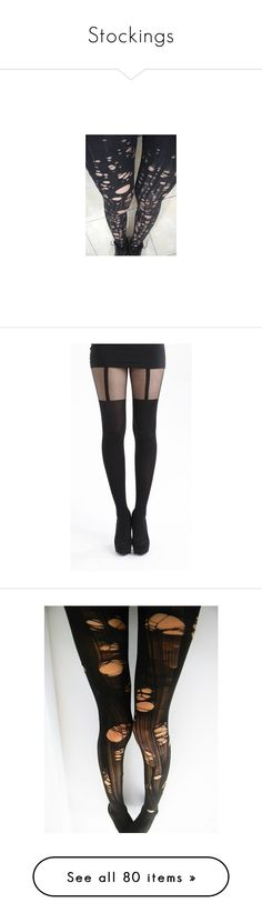 """""""Stockings"""" by blackwolf1099 ❤ liked on Polyvore featuring intimates, hosiery, tights, ripped stockings, torn tights, ripped tights, socks, pants, accessories and striped stockings"""