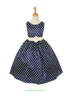 Ok - not for wedding but oh so cute! (and in the right colors)  Navy Blue Cute Polka Dots Girl Dress with Faux Leather Belt
