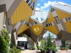 The unique cube houses of Rotterdam, The Netherlands. Designed by Piet Blom. Architecture Portfolio, Amazing Architecture, Modern Architecture, Rotterdam Architecture, Sustainable Architecture, Unusual Buildings, Interesting Buildings, Cubes, Window Grill Design Modern
