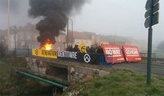 Generation Identitaire Block Calais Bridges with Burning Tires to Stop Migrant Invasion http://redicecreations.com/article.php?id=35469#.VuWlr8tjTLQ.twitter