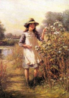 Girl With A Thistle-William Kay Blacklock (1872 – 1922, English)