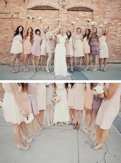 Peach, rose and dusty lavender dresses....it can work if every guests sticks to a similar color palette