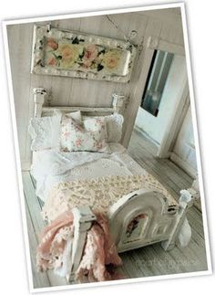 mini shabby chic twin bed by court of gypsies