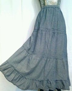 BOHO PEASANT LIGHTWEIGHT JEANS MAXI SKIRT WESTERN 16 JM COLLECTION BROOMSTICK  #JMCollection #PeasantBoho