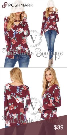 """Burgundy Floral Top MADE IN USA- Gorgeous burgundy floral top fits true to size and so flattering. Very soft, comfortable, stretchy and medium weight. Semi hi low design. 95% rayon, 5% spandex. Cold water wash, lay flat to dry. Busts laying flat: S 18"""" M 19"""" L 20"""" sizes fit women S(2-4) M(6-8) L(10-12) ValMarie Tops"""