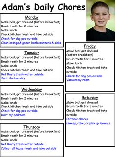 morning chore chart & great summer schedule on this site too ! Chore Rewards, Chore List, Chore Schedule, Kids And Parenting, Parenting Hacks, Daily Chore Charts, Chore Board, Family Command Center, Age Appropriate Chores