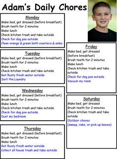 Older Child's Schedule \ organzingmadefun.com