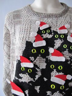 ugly christmas sweater- crazy cat lady theme