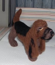 Needle Felted One Of A Kind Bloodhound by KathysCraftShop on Etsy