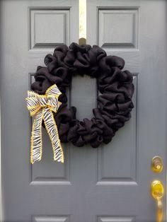Black Wreath  Burlap Wreath  Zebra Pattern by WreathsByRebeccaB, $41.00
