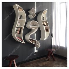 Iqra Book Shelf Modern Arabic Calligraphy ($699) ❤ liked on Polyvore featuring home, furniture, black, coffee & end tables, home & living, living room furniture, black bookshelves, modern book shelves, black furniture and black book shelves