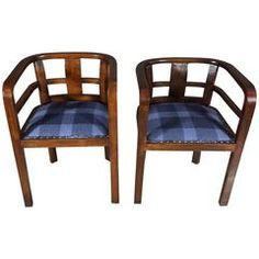 Pair of Scandinavian Art Deco Curved Walnut Armchairs, 1930s
