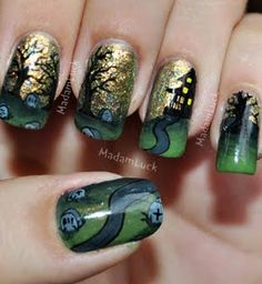 Haunted House Graveyard Nail Art
