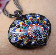 painted seashell pendant