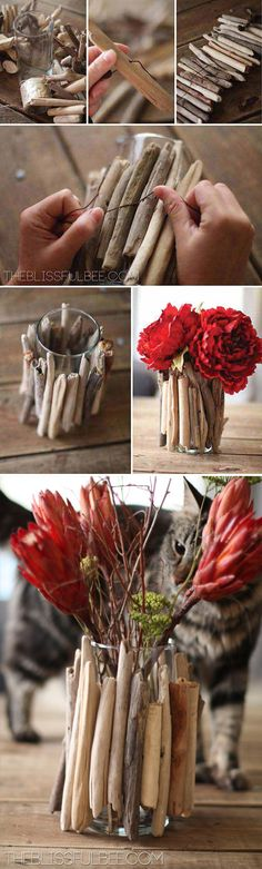 simple diy wood red floral vase wedding centerpieces