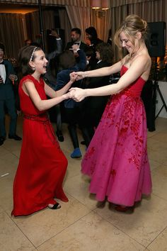 Millie Bobby Brown & Cara Buono from SAG Awards 2017: Party Pics  Pretty in pink (and red)!