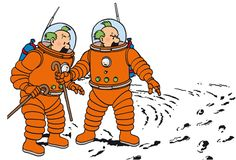 Footprints!...There's someone else besides us on the Moon! - Explorers on the Moon