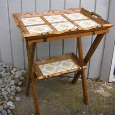 Vintage folding Tile and carved wood TRAY table.  by MyEstateSale