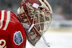 Detroit goalie Jimmy Howard during second period action of the Detroit Red Wings and Toronto Maple Leafs game at the 2014 Bridgestone NHL Winter Classic.