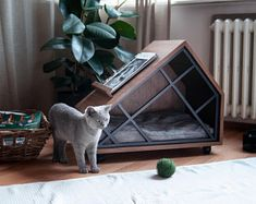 GRID - Cat Cave Furniture Materials: Natural wallnut wood veneer and static oven painted metal profi Little Dogs, Pet Beds, Dog Bed, Dog Cave, Cat Room, Pet Furniture, Furniture Stores, Pet Home, Dog Houses