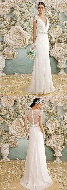 """What a lovely A-line wedding dress + a beautiful top + shoulder detail. Would this be the one on your big day? Repin if you like it and remember to use coupon code """"PTL20531"""" for an extra discount when you spend $100+"""