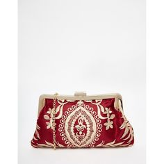 Chi Chi Clip Top Clutch Bag in Red with Gold Embroidery (74 AUD) ❤ liked on Polyvore featuring bags, handbags, clutches, multi, chain handbags, kiss lock purse, red clutches, white purse y red handbags
