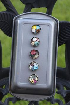 Old bottle caps upcycled into magnets- cute to add buttons or beads!