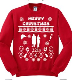 Sherlock Christmas Sweatshirt,fandom,Ugly Christmas Sweater,Sherlock & Watson,Nerd Girl Tees, Geek Chic Shirt