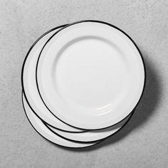 Enamel Dinner Plate - Black/Blue/Cream