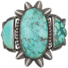 Vintage Silver and Turquoise Cuff, circa 1930 | From a unique collection of antique and modern native american objects at https://www.1stdibs.com/furniture/folk-art/native-american-objects/